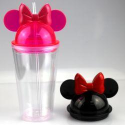 De gehele Mok van de Tuimelschakelaar van de Kop van de Fles van het Oor van de Muis Minnie van de Muur van de Verkoop Hete Verkopende Nieuwe Dubbele 16oz Acryl Plastic