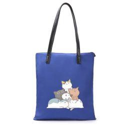 Настраиваемые печать Cat моды многоразовые Canvas дамы сумки хлопка магазинов женская сумка