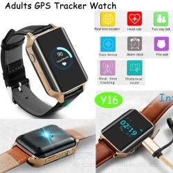 Les personnes âgées le suivi GPS montre téléphone portable avec positionnement en temps réel