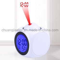Luz noturna Relógio de projeção com temperatura Data em função de conversação