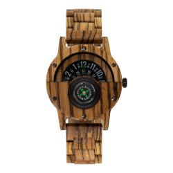 رجال [لثر سترب] [وتشس] خشب [هندمد] طبيعيّ مرح رياضة ساعة