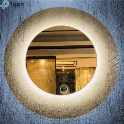 Bronze doré, Euro gris clair, ultra faibles en fer Glass Art Mur miroir cosmétique (MR-YB4-DJ003)