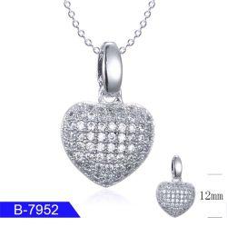 Gravado 925 jóias de prata elegante coração Colar Pendente para venda