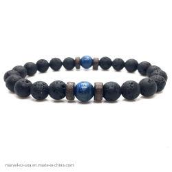 Dom jóias Bracelete Moonstone naturais de pedra de lava homens pulseiras Cordão