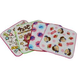 Piccolo tovagliolo 100% di fronte quadrato stampato su ordine del fumetto del bambino del bambino del cotone del tovagliolo di tè del velluto di taglio dei bambini
