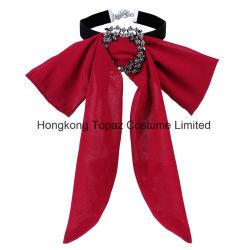 Colar Bowknot Chiffon para Mulheres Rhinestone elegante decoração saia da cadeia de pescoço Bow tie (PT-07)