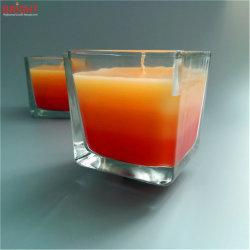 Gradient bol en verre clair à trois couleurs bougie boîte Wtih