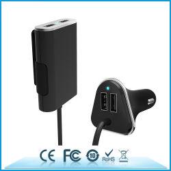 شاحن سيارة USB رباعي المنافذ بقدرة 48 واط للراكب في المقعد الأمامي/الخلفي