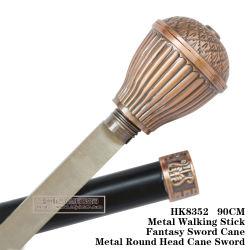 L'épée de canne à tête ronde de Métal Métal Bâton de marche 90cm HK8352
