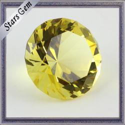 Tamanho grande de vidro cristal redondo amarelo brilhante com alta qualidade