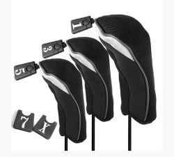 3pcs noir Soft no 1 3 5 Club de golf de bois CONDUCTEUR TÊTE Headcovers couvre défini
