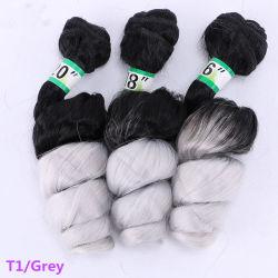 Ombre T1/gris Jumpy Wand lâche les faisceaux d'onde 3 Picec/lot Crochet d'extension de cheveux synthétiques pour les femmes noires