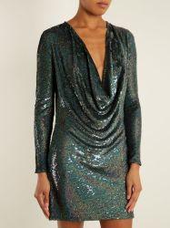 여자 옷 형식에 의하여 Sequin 장식되는 섹시한 복장 의복 주름잡아 드리우 정면 실크 소형 숙녀 파티복 의류