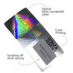Lutte contre la contrefaçon optique hologramme autocollant à gratter avec code QR de l'impression