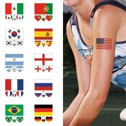 Améliorer les amateurs de soccer atmosphère Tattoo du drapeau national face Stickers temporaire