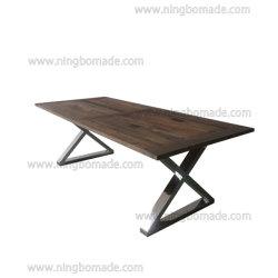 Clásico francés Natural muebles Vintage Provincial reclama Elm y luminoso de la base de acero inoxidable el cruce de la mesa de comedor