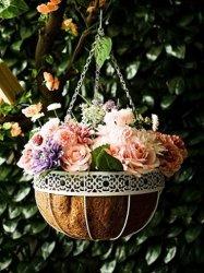Металлические висящих цветочный бункер сеялки с кокосовое волокно кокосовой пальмы гильзы провод держателя растений сад оформлены кадки висящих прикатывающими барабанами