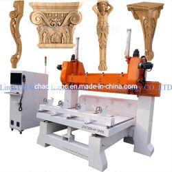 中国の製造者マルチヘッド3D回転式に5つの軸線CNCの木製に切り分けること