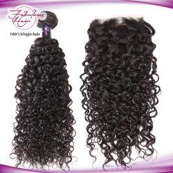 Comercio al por mayor 12un grado mano atada Remy cabellos rizados de Malasia Virgen trama