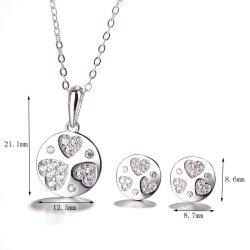 La moda de joyería de plata de ley 925 de circonio ronda & Corazón pendientes y el conjunto de colgante