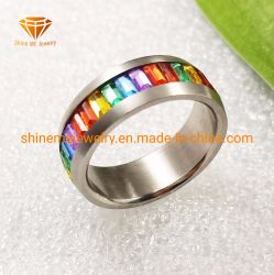 Мода цвета прямоугольника цветные камни кольцо SSR1924 из нержавеющей стали