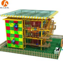 Châssis en acier peint les enfants de terrain de jeux intérieur avec mur d'escalade colorés