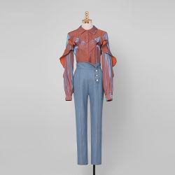 Neueste Form-Freizeit-Klage-dunkelblaue dünne Frauen-Denim-Jeans-Hose