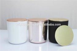 금속 대나무 뚜껑을%s 가진 광택이 없는 까만 백색 U 자 모양 둥근 밑바닥 유리제 단지 촛대