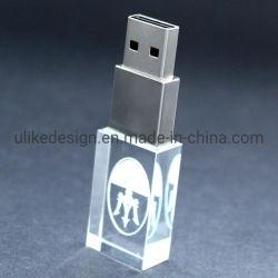USB a cristalli con logo 3D personalizzato di alta qualità con LED Light USB 2.0/USB 3.0 Flash Drive 32GB 64GB