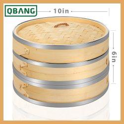 2 Tier vaporizador de bambu com aço inoxidável Banding