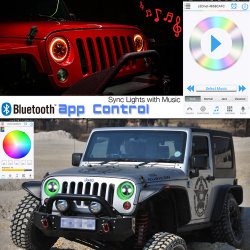 "RGB Bluetoothは7つの"" HaoプロジェクターヘッドライトMultibeam LEDのヘッドライトを制御した"