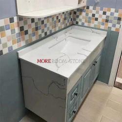 Искусственный камень стендовых столешницами белый кварцевый раковины в ванной комнате
