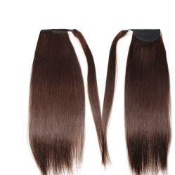 16inch cheveux queue de cheval 120 gramme de meilleure qualité Virgin Remy cheveux brun chocolat haut de la qualité unique de droit tirées des extensions de cheveux