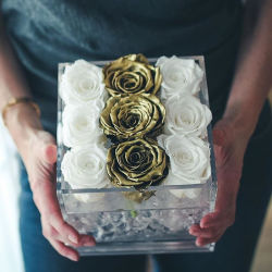 Commerce de gros boîte étanche à l'acrylique de fleurs fraîches