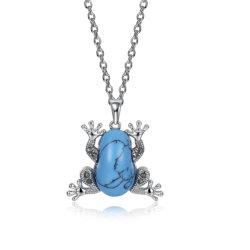 Kallaiteの吊り下げ式のネックレスの普及したカエルの形のPendnatのネックレスの銅の物質的なネックレスの黒の銃によってめっきされるネックレスの方法宝石類