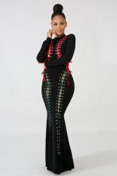 Женские мода долго классический Strappy порванный жгут Sexy тонкий устраивающих мать платья