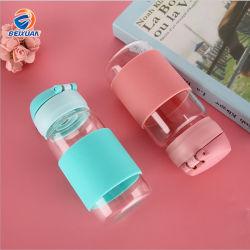 360мл оптовой безопасной легко открыть Защелкивающаяся горячая продажа портативных стеклянная бутылка воды для детской школы напиток с силиконовым герметиком гильзы
