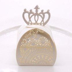 10pcs romántico Hollow Crown Candy Bolsa de Caja de regalo invitado