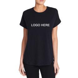 Il Hemline curvo rotolato Cuffs la maglietta di Lycra delle donne con il marchio su ordinazione