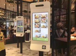 32/43pulgadas de pantalla táctil con Android, máquinas expendedoras de pago Autoservicio interactiva Restaurante Kiosco para Soporte de pedidos de forma automática y el efectivo POS impresora