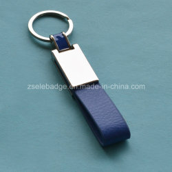 Couro personalizado Keyring com acabamento de níquel para a promoção