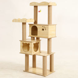 Camera di legno naturale Esg12416 del gatto del condominio del gatto di legno solido della Camera dell'animale domestico dello scalatore del gatto dei Pali degli alberi di legno Premium del gatto
