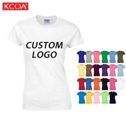 Het witte Ronde Scherm die van het Embleem van de Douane van de Hals de Duidelijke Lege Katoenen T-shirt van Vrouwen afdrukken