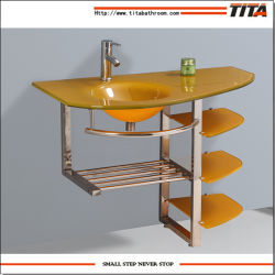 灰色の浴室の流しか洗面器の立場または緑ガラスの虚栄心(TG7005)
