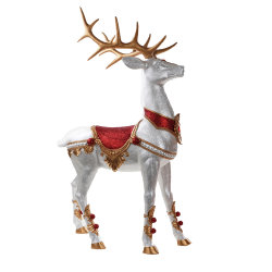 OEM van de Fabriek BSCI het Levensgrote Bevindende Beeldje van het Rendier van het Fiberglas Noel voor het Decor van Kerstmis