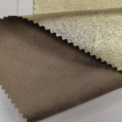 90% Polyester10% Spandex-Veloursleder-Gewebe-stempelnde Folie oder vergoldet, Folien-Veloursleder-Goldstrickendes Gewebe für Schuhe bronzierend