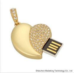 Cristal populaire Bijoux Driveflash de mémoire flash USB avec forme de coeur