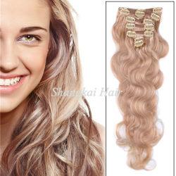 Remy ondulado pelo natural Extensiones de Clip cabello humano.