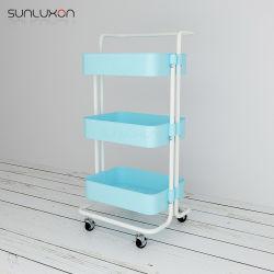 Porta-paletes de cozinha de 3 níveis Prateleira de armazenamento das rodas do Organizador de ferramentas de carrinhos de Rolo Carrinho de beleza
