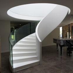 Металлический белый изогнутые лестницы стальные поручни индивидуальные лестницы Arc лестницы